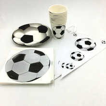 31PCS/LOT FOOTBALL THEME PARTY DECORATIONS HAPPY BIRTHDAY EVENT PARTY SUPPLIES FOOTBALL PAPER PLATES FOOTBALL PAPER CUPS(China)