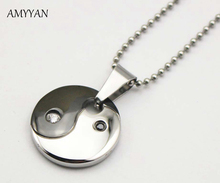 316l Stainless Steel Yin Yang Necklace Tai Chi Pendants Necklace Health Magnetic Black and White Round Disc Pendant Necklace