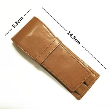 3PCS / Brown / Coffee Double Pen Pouch Genuine Leather Case