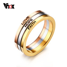 Vnox Three Tone Mix Color Rings for Women LOVE HOPE FAITH Wedding Band Ring(China)