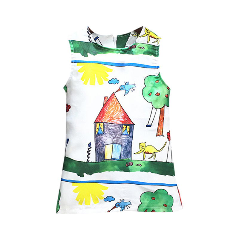 Summer Girls Dress Children Clothing Character Bear Leader Pattern Sleeveless Party Dress<br><br>Aliexpress
