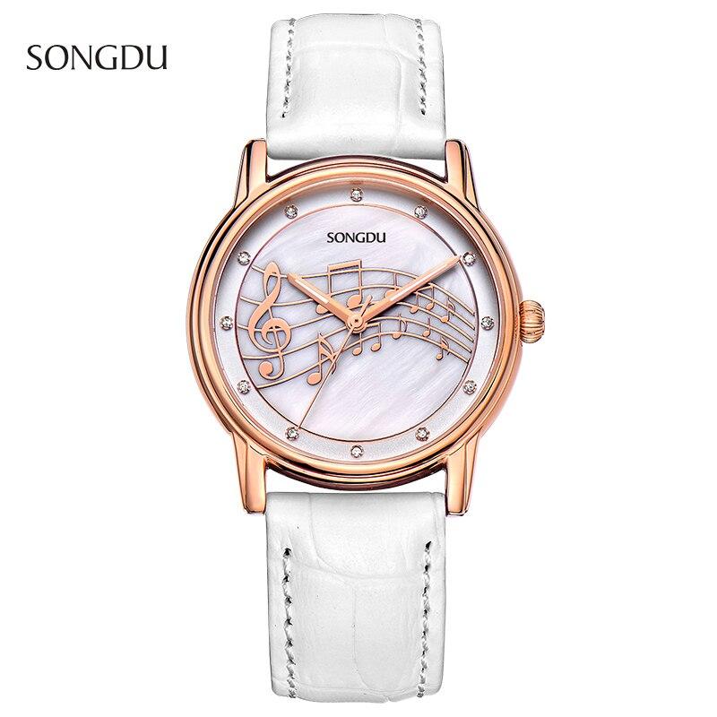 2017 Luxury SONGDU Quartz Women Watches Diamond Clock Leather Dress Wristwatch With Montre Relogio Feminino xfcs montre femme<br><br>Aliexpress