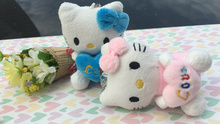 Super Lovely 2Colored Hello Kitty Toy , Plush Stuffed Keychain Gift TOY Doll , Gift Wedding Bouquet Plush Toy DOLL(China)