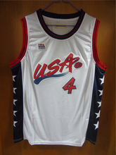 Aembotionen Charles Barkley #4 USA White/Blue Retro Throwback Stitched Basketball Jersey Sewn Camisa Embroidery Logos