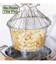 304 stainless steel chef basket folding basket stainless steel fry basket Stainless Steel Expandable Fry Chef Cart Colander(China)