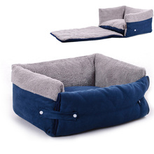 2017 Hot Blue Clamshell Dog Sofa Bed Flip Small Medium Dog Kennel Blanket Keep Warm Cat Dog House Mat Pet puppy Products(China)