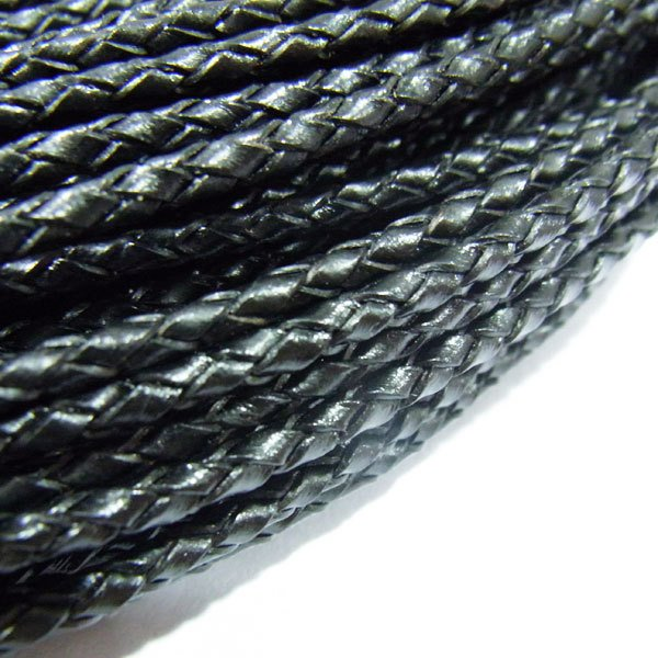 free shipping!!! 60meter/lot 3mm Braided Genuine Leather Cord Black by DHL