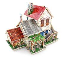 The latest diy 3d puzzle building model assembles toy  wood house colorful cabin assemble by kids own + free shipping