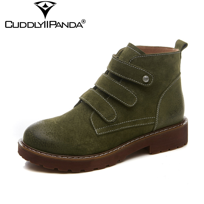 CuddlyIIPanda 2018 Spring Triple Hook&amp;Loop Chelsea Boots Cow Suede Women Martin Boots Genuine Leather Cowboy Boots Drop Shipping<br>