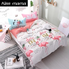 Pure Cotton Flamingo Bedding Set King Comfortable Luxury Duvet Cover Set With Bed Sheet Linens Bedding Twin Full Queen King