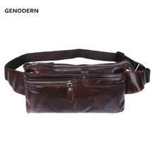 Fashion Men Genuine Leather Waist Bag for Men Vintage Cowhide Waist Packs Bag Small Leather Bags for Male Packs(China)