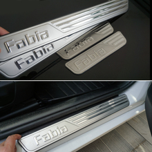 Free shipping Car accessories Stainless Steel scuff plate door sill For Skoda Fabia 2009-2016 2GEN 3GEN
