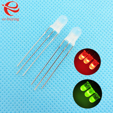 3mm LED Bi-Color Diffused Red Green Common Anode Round Light Emitting Diode Dual Foggy Two Plug-in Practice DIY Kit  50pcs /lot