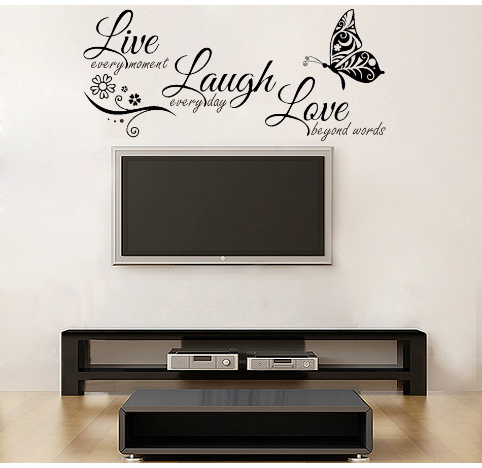 HTB1BJ6WXTtYBeNjy1Xdq6xXyVXaB - Live Laugh Love Butterfly Flower Modern Wall Decals Quotes Vinyls Stickers