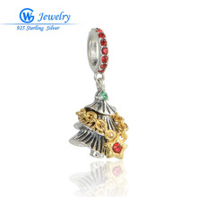 Christmas Tree 925 Sterling Silver Gold Charms Pendants Fits Bracelets & Necklaces GW Fashion Jewelry S246H20