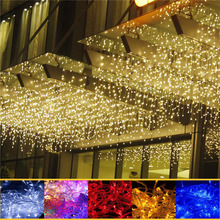 4M 96 icicle LED string fairy light 220V 110V AC Led christmas lights curtain outdoor Wedding Decor party Garden room home