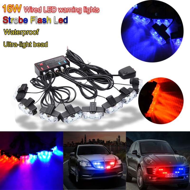 16W Wire Control LED Strobe flash led warning light Car Working light DRL Strobe Police Fireman Caution pilot Lamp<br>