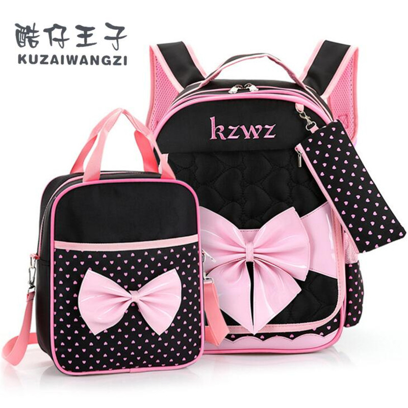 New Fashion Children School Bags for Girls Backpack Female Kid Bag Child Printing Backpacks for Teenage Girls Bow Suit X013(China (Mainland))