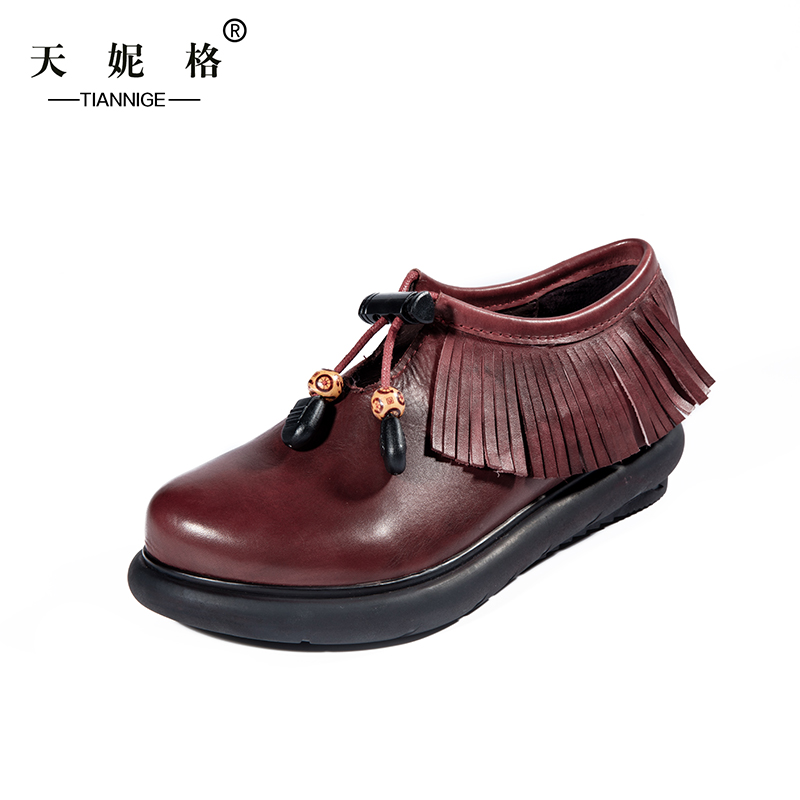 2016 Autumn Original Ethnic Style Flat Shoes Women  Round Toe Tassel Casual Ladies Shoes Genuine Leather Women Shoes TG083<br><br>Aliexpress