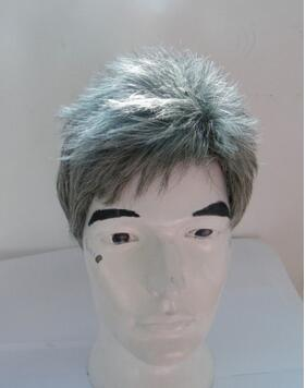 Middle-aged and old wig short straight hair closely cropped Mens white wig The old man old man Stage with film<br><br>Aliexpress