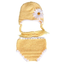 NewBorn Photography Prop Chrysanthemum Pattern Baby Crochet Knit Costume Clothes Photo Prop Hat Neonato #1102