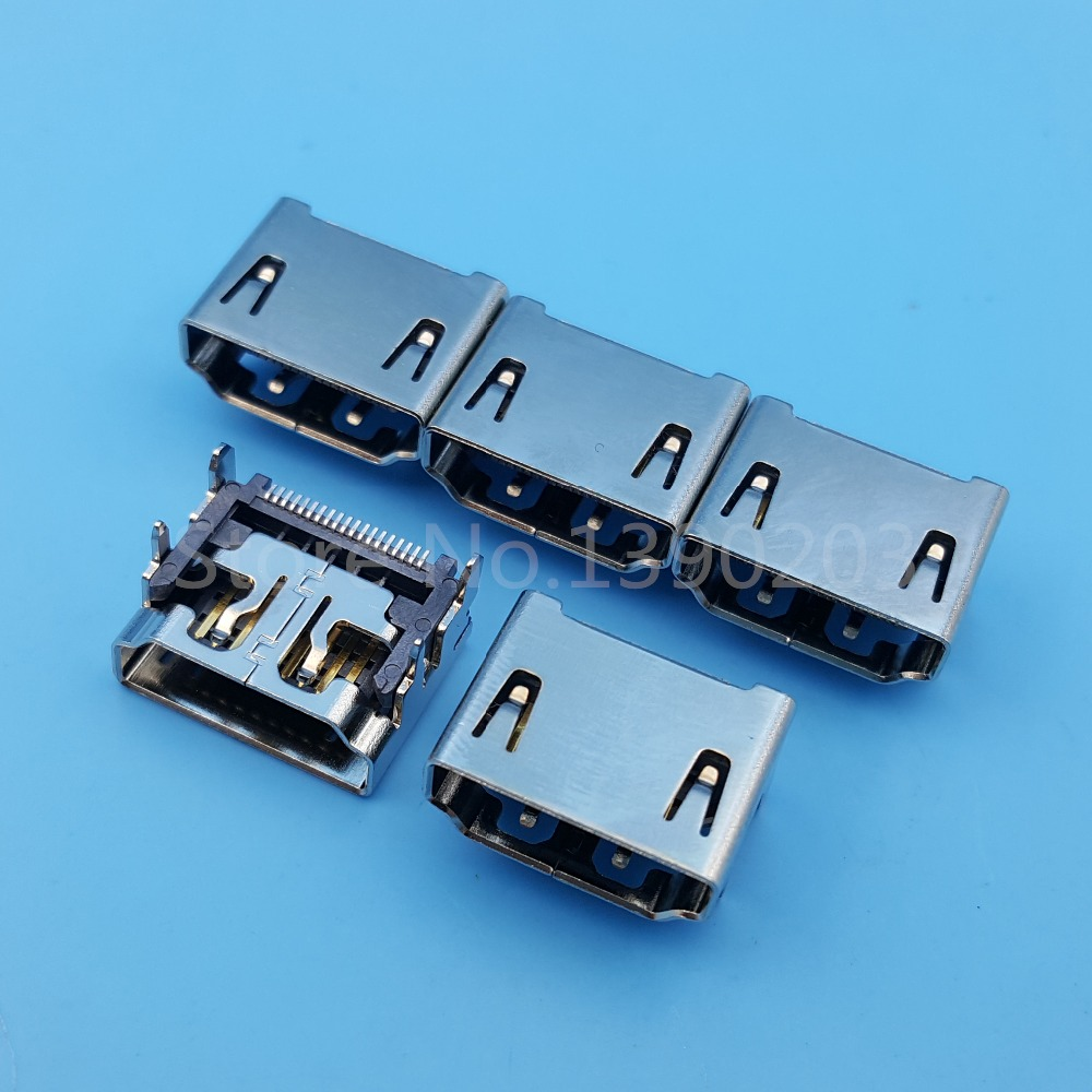 5Pcs 19Pin Female HDMI Socket SMT Solder Type Connector PCB Mount High Quality