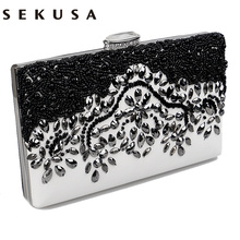 SEKUSA Pu Women Messenger Chain Shoulder Handbags Beaded Handmade Style Metal Diamonds Evening Bags Leather Fashion Purse Bags(China)
