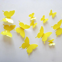 12Pcs/Lots Fashion White Removable 3D Butterfly Wall Stciker For Kids Room Christmas Wall Decals Vinyl Stickers Home Decor