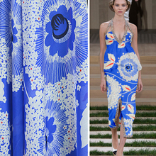 100*140cm Blue Large Flowers Pattern Bohemian Dress Material Cotton Silk Floral Fabric