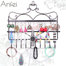 Iron wall mounted frame earrings necklace holder stud earring accessories storage rack jewelry plaid  display rack A151-2