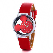 NEW Fashion Lovely women gilrs Hollow Out Minnie Mouse Style Dial Leather Quartz Wrist Watches for lady kids dress mouse watch(China)