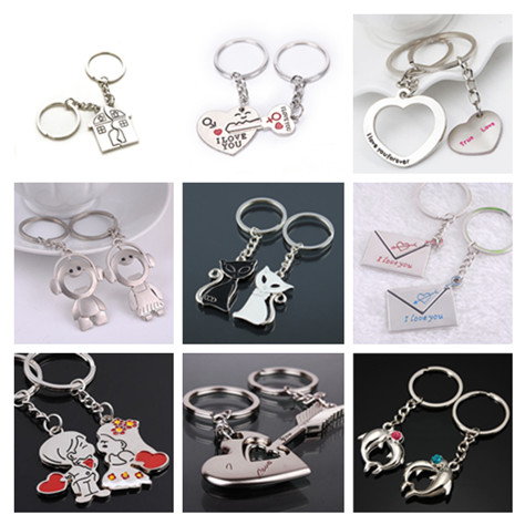 Hot Sale 2Pcs/set Couple Keychain Love Heart Keyring Fashion Key Ring Gift For Kids Friends