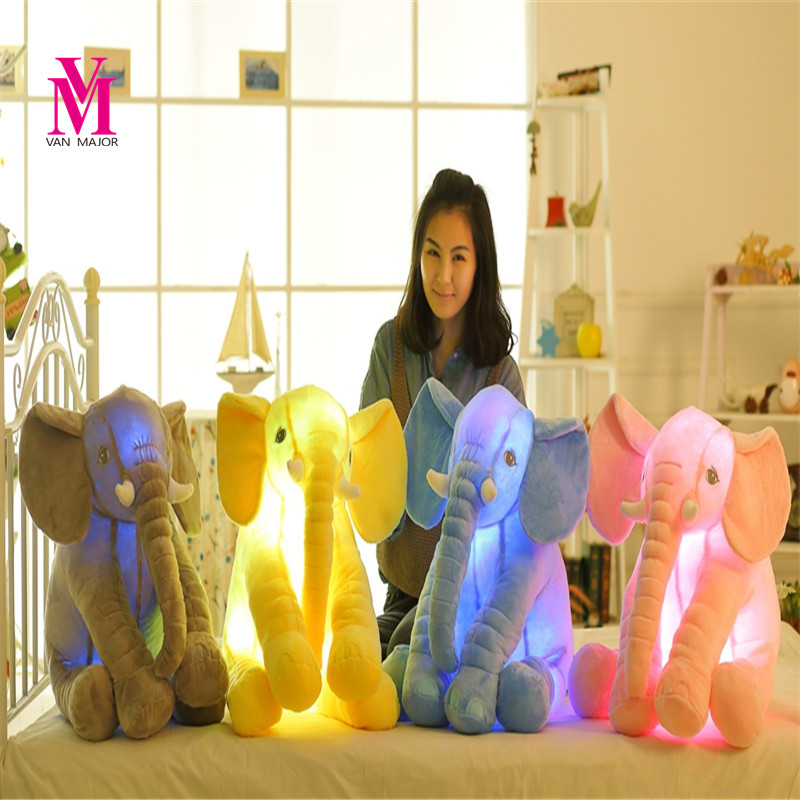 1pc Led Infant Soft Appease Be Luminous Elephant Playmate Calm Doll Baby Toys Elephant Pillow Plush Toys Free Shipping WJ444<br>