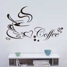 New Qualified 2017 New Art Wall Sticker Removable Kitchen Decor Coffee Cup Home Decals Vinyl  Levert Dropship dig6429