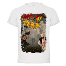 9ab37087 MEET MY FRIENDS Halloween Jester Michael Myers butcher pig dtg mens t shirt  tee Fashion Style