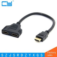 HDMI Male To Dual HDMI Female 1 to 2 Way Splitter Adapter Cable For HDTV,Support Two TVs The Same Time,Signal 1 in 2 Out