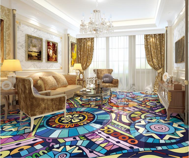 3d flooring customized pvc self adhesive wallpaper Atmospheric pattern 3d floor tiles mural 3d flooring waterproof wall paper<br><br>Aliexpress