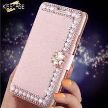 KISSCASE Glitter Pearl Buckle Cover For Samsung Galaxy S8 S8 Plus S7 S6 Edge Plus S5 S4 Note 4 5 Silk Pattern Flip Phone Cases