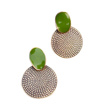 Elegant Annual Ring Pendant Earrings Green Studs Girl Eardrop Alloy  KQS