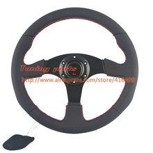 Free Shipping 350mm Racing Car Steering Wheel 330mm Flat Leather Car Steering Wheel With Red Stitching Sport Game Steering Wheel(China)