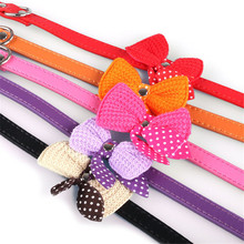 2017 New Arrival 5Color Knit Bowknot Adjustable PU Leather Cute Cat Dog Puppy Pet Collars Necklace Collars and Harnesses D45JL25