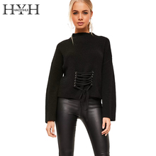 HYH HAOYIHUI Vintage Lace Up Black Basic Sweater Autumn Winter Loose Knitted Sweaters Casual Pullover Long Sleeve Women Jumpers
