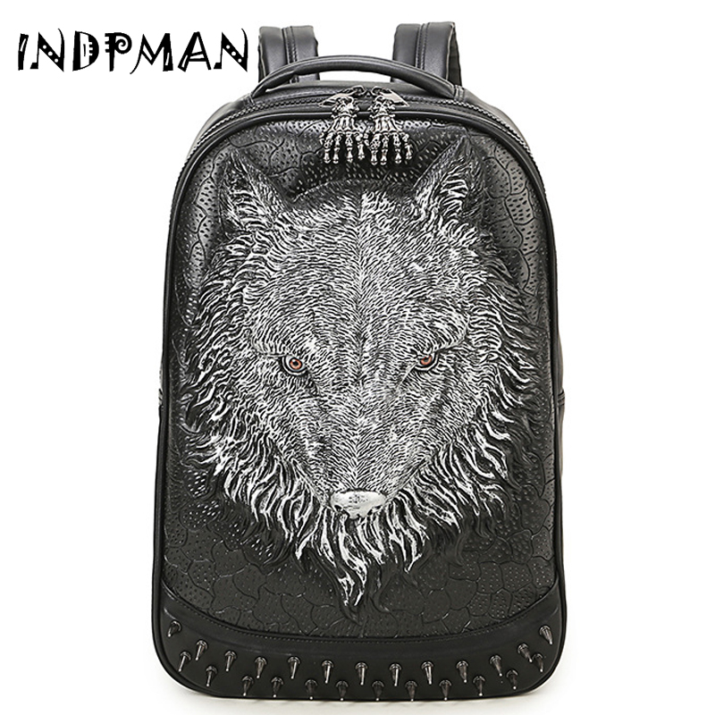 Wild Rivets Backpack Wolf Men 3D Backpack Leather Rock Waterproof Backpack Large Creative Street Fashion Package Travel bags <br>