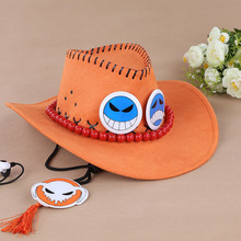 One Piece luffy's Brother portgas D Ace Anime Cosplay Straw Cap Ace's Orange Hat With Bones Skull Toys Free Shipping #FA
