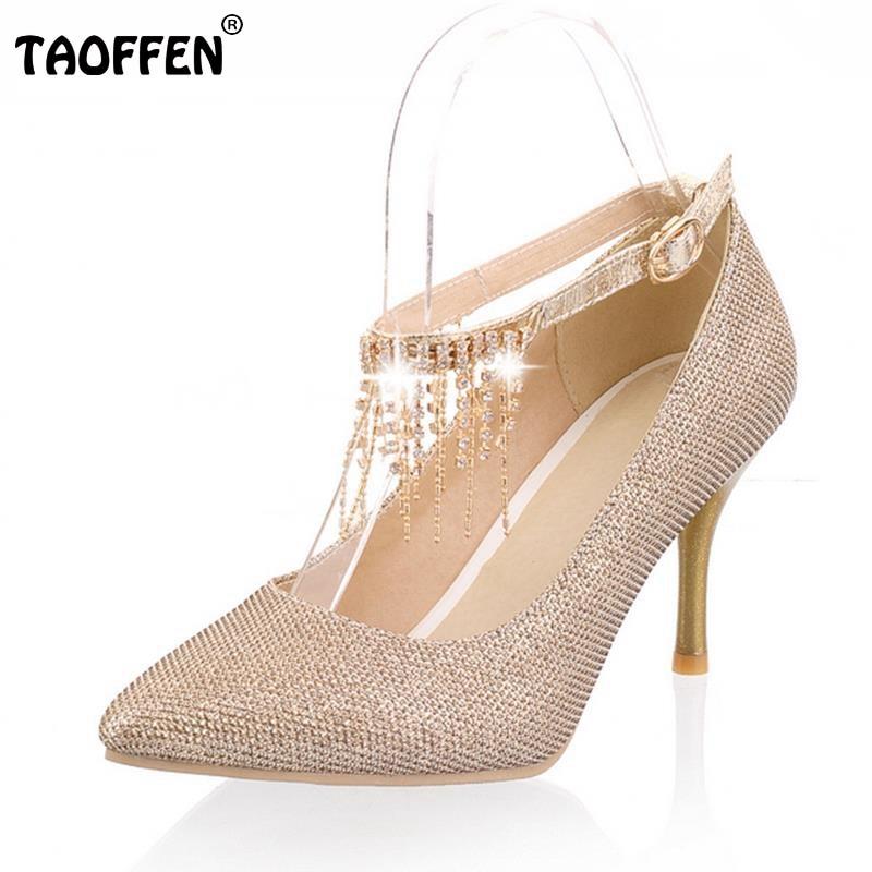 TAOFFEN free shipping high heel shoes women sexy dress footwear fashion lady spring pumps P10908 hot sale 30-43<br><br>Aliexpress