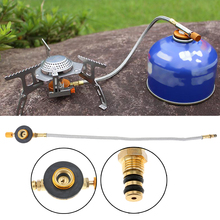 Stainless Steel Braided Hose Outdoor Kitchen Cooking Gas Stove Burner Furnace Connector Gas Tank Adapter Valve Camping Equipment