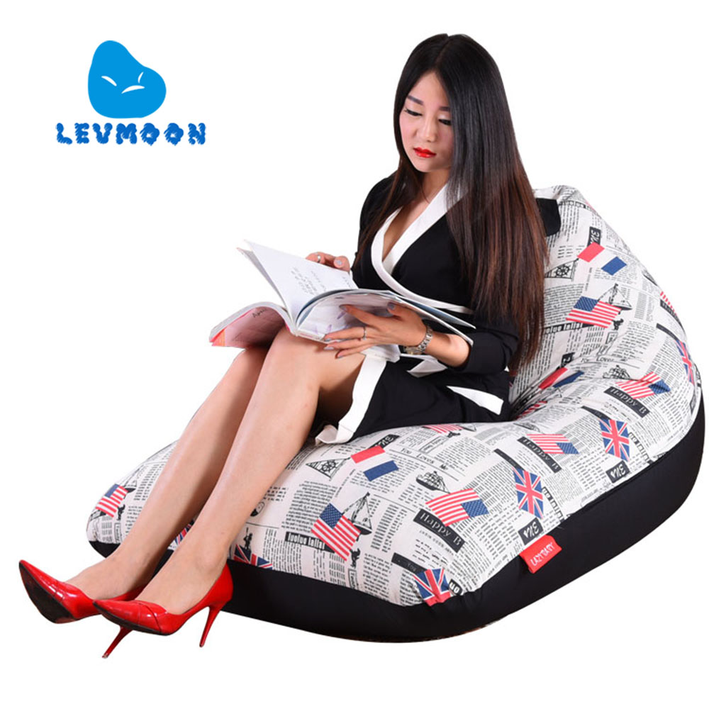 LEVMOON Beanbag Sofa European fashion Seat Zac Comfort Bean Bag Bed Cover Without Filler Cotton Indoor Beanbag Lounge Chair<br>