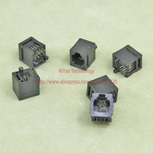 (50pcs/lot) RJ11 52-6P6C Black Modular Jack Network Telephone Socket 6 Pin 180 Degree Needle Welded Type With Side
