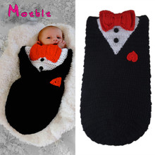 Baby Unisex Sleeping Bag Crochet Newborn Baby Photo Prop Knitted Cocoon With Bow Infant Heart Sleeping Sack Black MZS-16021(China)