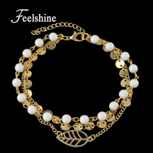 Feelshine Bohemian Jewelry Gold Silver Color Multi Layer Chain With White Beads Leaf Shape Anklets For Women Accessories(China)
